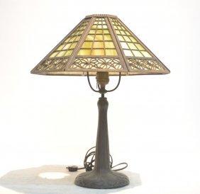 8-panel Slag Glass & Filigree Shade Table Lamp