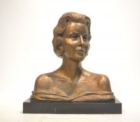 Catherine Barjansky , Bronze Bust Of Woman On
