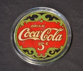 5 Cent Coca Cola Reverse Painted Tray