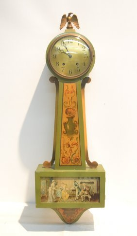 Paint Decorated Gilbert Banjo Clock