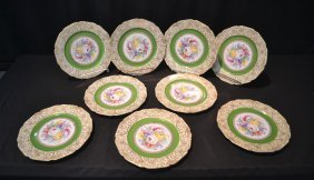 (9) Czech Service Plates With Floral Medallions