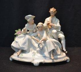 German Porcelain Grouping Of (2) Ladies & Man