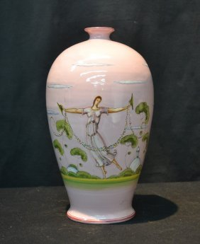 Italian Hand Painted Art Deco Style Pink Vase