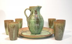 Ar Cole , North Carolina Pottery Pitcher ,