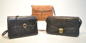 (3) Hand Bags Including Ostrich , Snake Skin &