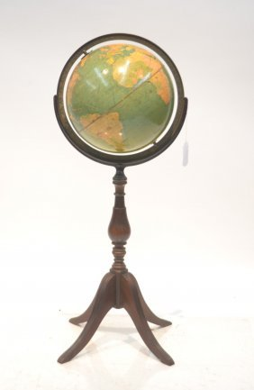 Vintage Replogle Standard Globe On Wood Base