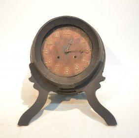 Vintage Wine Barrel Form Clock