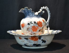 Oval English Wash Bowl & Picther By