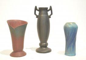 (2) Van Briggle Pottery Vases & Black Pottery Vase