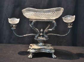 Victorian Silver Plate & Cut Glass Epergne