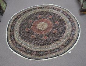 9' Round Tabriz Design Oriental Rug