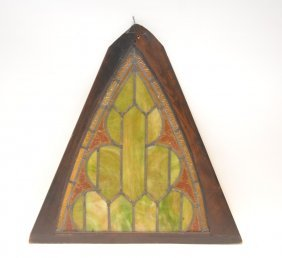 "Triangular Leaded Glass Panel - 30"" X 31"" Framed"