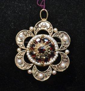 14kt Garnet & Seed Pearl Pendant - Pin