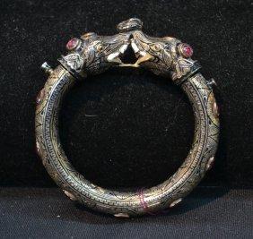 19thc Indian Silver & Enamel Elephant Bangle
