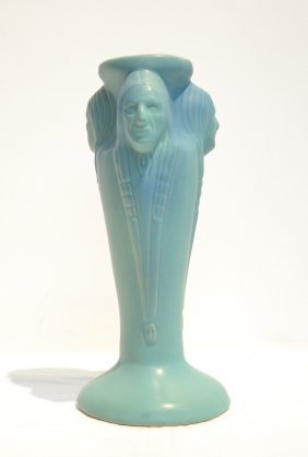 "VAN BRIGGLE ""THREE INDIAN HEAD"" VASE"