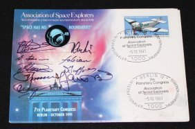 Association Of Space Explorers Signed Postcards