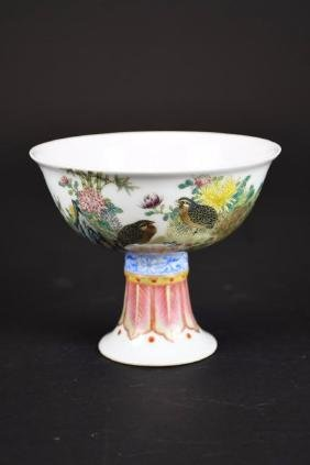 Antique Chinese Hand Painted Famille Rose Porcelain Ste