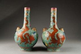 Pair Of Turquoise Ground Dragon Vase