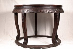 Unusual Carved Zitan Round Table With Five Stools