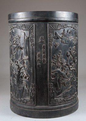 A Rare Large Pierce Of Zitan Brush Pot