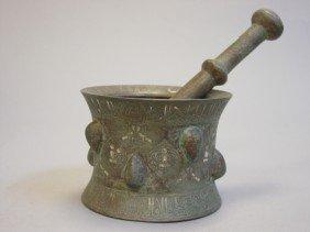 Islamic Silver Inlaid Bronze Mortar & Thistle