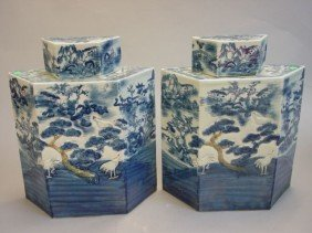 Pair Of Blue & White Covered Jar