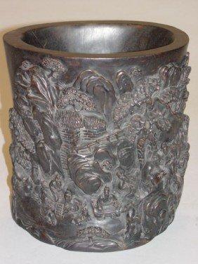 Large Chinese Carved Zitan Brush Pot