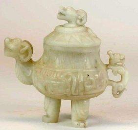 Chinese Jade Lidded Tripod Censer