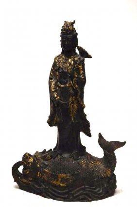 Chinese Bronze Standing Guan Yin
