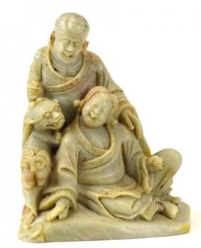 Chinese Carved Soapstone Figure Of Lohan & Child