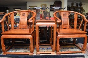 Pair Of Chinese Hardwood Chairs & Side Table