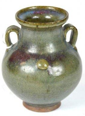 Chinese Junyao Glaze Porcelain Footed Vase