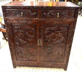 Chinese Carevd Hardwood Cabinet