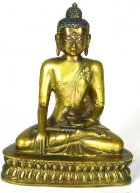 Chinese Gilt Bronze Seated Buddha On Double Lotus Base
