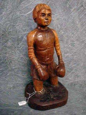 """Sculpture-  Wood Carving """"Weekend Athlete""""  17"""","""