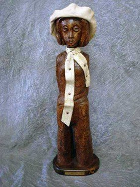 Sculpture - Wood Carving  Female With Hat,