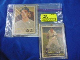 (2) Baseball Cards:  1957 Whitey Ford, 25;