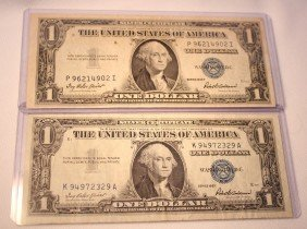 LOT OF TWO $1 SILVER CERTIFICATES