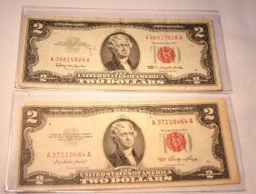 LOT OF TWO RED SEAL $2 SILVER CERTIFICATES
