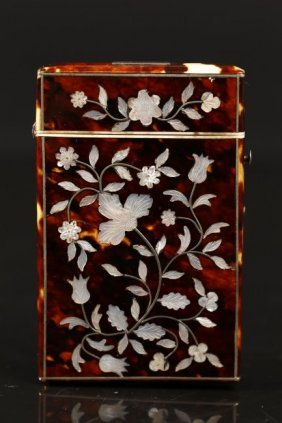 A Tortoiseshell Case W/ Mother Of Pearl Inlays