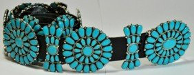 Navajo Turquoise Sterling Silver Concho Belt - Jul