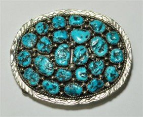 Navajo Turquoise 23-Stone Sterling Silver Buckle -