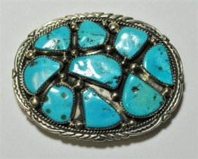 Navajo Turquoise 9-Stone Sterling Silver Buckle -