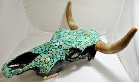 Navajo Turqouise Stone Over Authentic Bull Skull Pot