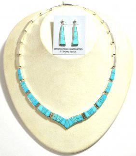 Navajo Turquoise Inlay Sterling Silver Link Necklace
