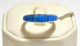 Navajo Ocean Blue Opal Inlay Sterling Silver Women's