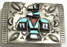 Old Pawn Multi-Stone Bird Kachina Sterling Silver Buckl