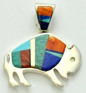 Navajo Multi-Stone Buffalo Pendant - Edison Yazzie / La