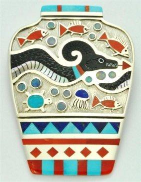 Zuni Multi-Stone Sea Serpent Sterling Silver Pottery Pe