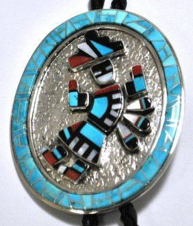Navajo Multi-Stone Rainbow Kachina Sterling Silver Bolo